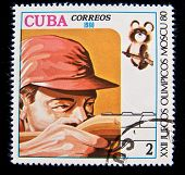 CUBA - CIRCA 1980: A stamp printed in Cuba devoted to the Olympic Games in Moscow (1980) and shows Skeet shooting, circa 1980.