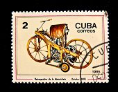 CUBA - CIRCA 1985: A stamp printed in Cuba shows the Daimler motorcycle, produced 1885. Circa 1985