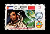 CUBA - CIRCA 1980: A stamp printed in Cuba shows cosmonaut Armaldo Tamayo, stamp from series honorin