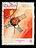 CUBA - CIRCA 1983: A stamp printed in the Cuba shows French space satellite, circa 1983 . Big space