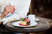 Cake With Cream Delicious Dessert. Appetite Concept. Dessert Cake Cup Of Coffee And Female Hand With poster