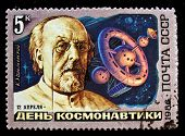 USSR - CIRCA 1986: A stamp printed in the USSR shows Soviet scientist, the father of astronautics Ko
