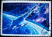 USSR - CIRCA 1972: A stamp printed in the USSR shows Soviet space station, circa 1972. Large space series