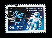 USSR - CIRCA 1990: A stamp printed in the USSR shows  Cosmonaut Aleksei Leonov in space, circa 1990. Large space series