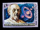 USSR - CIRCA 1986: A stamp printed in the USSR shows academic theorist of space travel Konstantin Ts