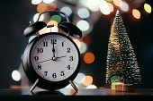 New Years Midnight Retro Clock Face poster