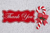 Candy Cane On Plush Gray Material With Christmas Message Of Thank You poster