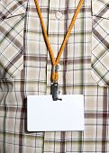 White Blank Badge with an orange strap on mens torso