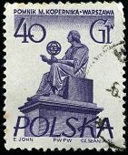 POLAND - CIRCA 1960s : stamp printed in Poland showing Nicolaus Copernicus monument, circa 1960s