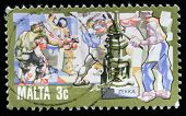 MALTA - CIRCA 1980-th: A stamp printed in Malta shows devises metal smiths, circa 1980-th