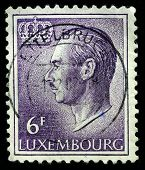LUXEMBOURG - CIRCA 1965: A Used Postage Stamp showing Portrait of Grand Duke Jean, circa 1965.