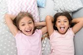 Having Fun With Best Friend. Children Playful Cheerful Mood Having Fun Together. Pajama Party And Fr poster