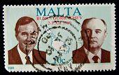 MALTA - CIRCA 1989: A stamp printed in Malta shows Mikhail Sergeyevich Gorbachev - General Secretary