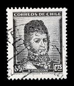 CHILE - CIRCA 1940s: A stamp printed in Chile shows image of Bernardo O'Higgins, the Chilean general