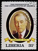 LIBERIA - CIRCA 2000s: A stamp printed in Liberia shows President Woodrow Wilson, circa 2000s.