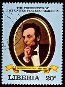 LIBERIA - CIRCA 2000s: A stamp printed in Liberia shows President Abraham Lincoln, circa 2000s.