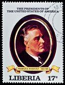 LIBERIA - CIRCA 2000s: A stamp printed in Liberia shows President Franklin D. Roosvelt, circa 2000s.