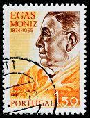 PORTUGAL - CIRCA 1990s: A stamp printed in PORTUGAL shows Antonio Caetano de Abreu Freire Egas Moniz
