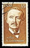 GERMANY - CIRCA 1972: stamp printed in Germany, shows Heinrich Schliemann, circa 1972.