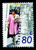 NETHERLANDS - CIRCA 1992: A stamp printed in Netherlands shows Queen Beatrix, circa 1992