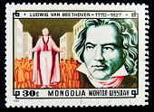 MONGOLIA - CIRCA 1981: A stamp printed in Mongolia shows image of the famous composer Ludwig van Beethoven, circa 1981