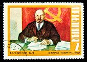 BULGARIA -CIRCA 1974:A Stamp printed by Bulgaria Vladimir Ilyich Lenin was a Russian revolutionary,