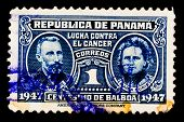 PANAMA - CIRCA 1947: A postage stamp printed in Panama, shows a Pierre Curie and Marie Curie, circa 1947