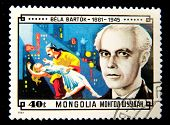 MONGOLIA - CIRCA 1981: A stamp printed in Mongolia shows image of the famous composer Bela Bartok, s