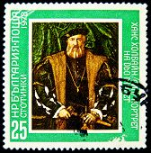 BULGARIA - CIRCA 1978: A stamp printed in BULGARIA shows Portrait of Hans Holbayn, circa 1978