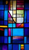 Abstract stained-glass window in Montserrat Monastery (founded in 1025)