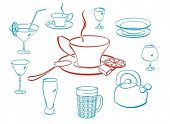 set of crockery, kitchen things and elements of service. this vector is easy to edit