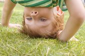 stock photo of fidget  - happy little boy stand on head on the summer lawn - JPG