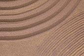 zen garden of sand with copy-space