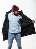 Guy Wear Hat And Black Winter Jacket. Stylish And Comfortable. Hipster Style Menswear. Hipster Outfi poster