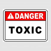 Plate: danger. Toxic. Sign: danger. Toxic On A Gray Background poster