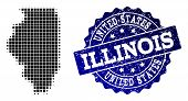 Geographic Composition Of Dot Map Of Illinois State And Blue Grunge Stamp Imprint. Halftone Vector M poster