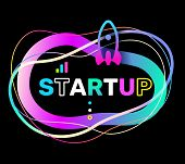 Vector Creative Illustration Of Startup Word Typography And Rocket On Black Background. Startup Tech poster