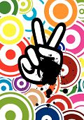 Peace Hand On Colorful Background