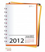 Simple 2012 calendar notebook, October. All elements are layered separately in vector file. Easy edi