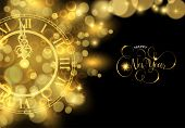 Happy New Year Luxury Golden Card Illustration, Clock Marking Midnight Time On Black Background. poster