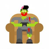 Zombie Gamer Player Video Game. Zombie Guy And Joystick. Dead Man Sitting On Chair Playing Videogame poster