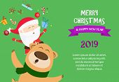 Merry Christmas And Happy New Year Sample Green Banner Design. Inscription With Bear And Santa On Gr poster
