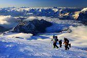 Climbing on mountain Elbrus