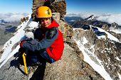 Alpinist on Gran Paradiso Peak, Italy