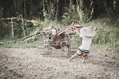 Child Labor, Poor Children Driving A Plow Farming Area, Children Have To Work Because Of Poverty, Wo poster