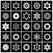 Design Elements Set. Contrast Black And White Star Shape Icons.vector Art. poster