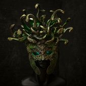 Head Medusa, creature of Greek mythology. pieces made by hand with goldsmiths and metals such as gol poster