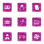 Hacker Attack Icons Set. Grunge Set Of 9 Hacker Attack Icons For Web Isolated On White Background poster