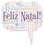 Feliz Natal Word Cloud - Merry Christmas On Portugal Language. International Christmas Concept. poster