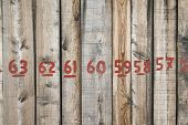 Wall From Wooden Planks With Numbers Written With Red Paint poster